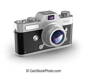 Retro photo camera over white - Retro photo camera over...