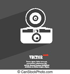 retro photo camera symbol Flat modern web design with long shadow and space for your text. Vector