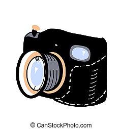 Retro photo camera. Vector illustration, isolated on white.