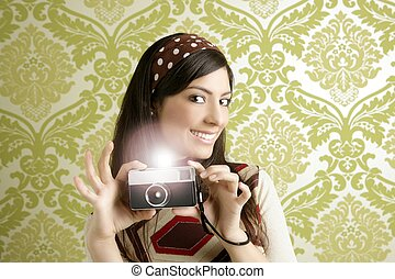 Retro photo camera woman green sixties wallpaper - Retro...