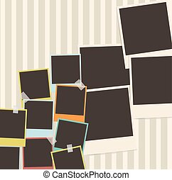 retro photo composition with adhesive tape. photo album design template. vector