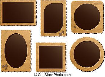 Retro photo frame isolated set