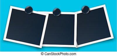 Retro photo frame vector realistic white border