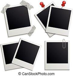 Retro photo frames on white