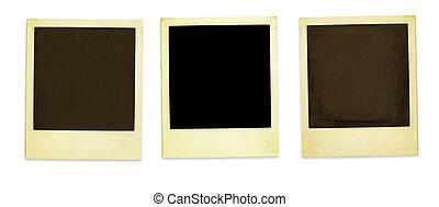 Retro Photo Frames - Three Old Polaroids Isolated On White (...