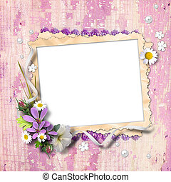 Retro photo framework with flowers