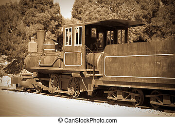 Retro photo of old  locomotive
