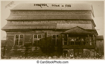 Retro photo of old wooden synagogue in Jurburg, Lithuania, ...