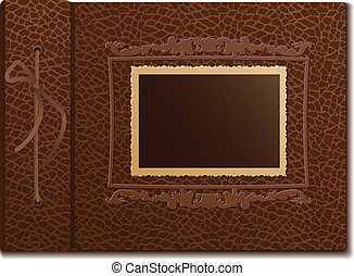 Retro photo on skin background - Brown skin cover a photo...