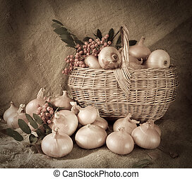 Retro photo onion in basket