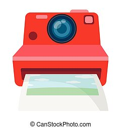Retro photocamera icon in cartoon style isolated on white background. Hipster style symbol stock vector illustration.