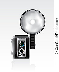 Vector retro photocamera on the white background