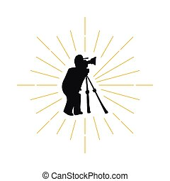 Retro photographer silhouette logo