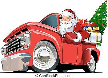 retro, pickup, natal, caricatura