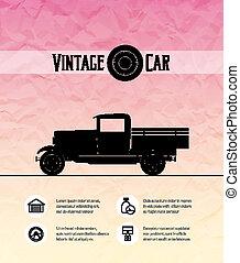 Retro pickup, truck car, vintage outline style