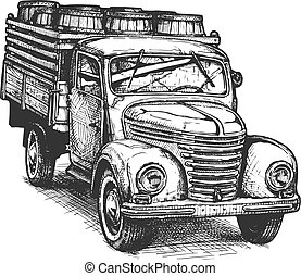 Retro pickup truck with barrels - Vector hand drawn...