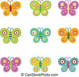 retro, pillangók