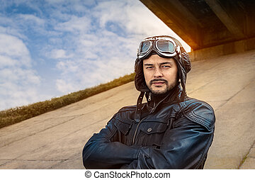 Retro Pilot Portrait with Glasses - Image of a handsome and ...