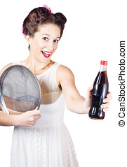 Retro pin-up girl giving bottle of soft drink