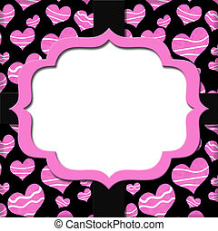 Retro Pink and Black Heart-shaped with Ribbon Background for...