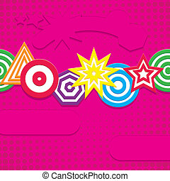 Retro pink background with funny elements, vector illustration
