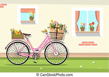 Retro Pink Bicycle with House Wall and Windows