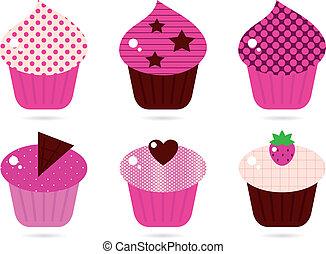 Retro pink cupcakes set isolated on white
