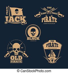 Retro piratical color logo, labels and badges. Vintage vector collection