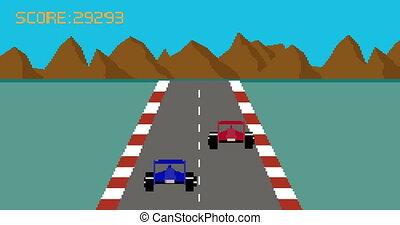Retro pixel art style race car video game