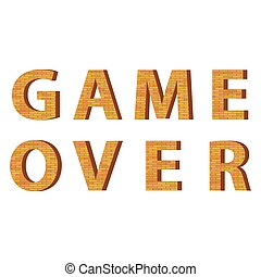 Retro Pixel Game Over Sign. Gaming Concept. Video Game Screen.