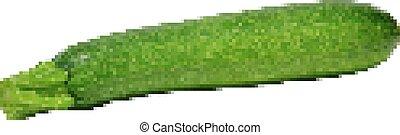 Retro pixel zucchini - courgette, isolated on white - Retro...