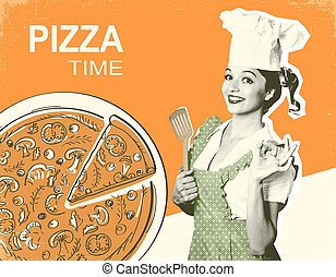 Retro pizza poster on old paper background for text
