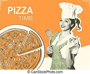 retro, pizza, poster, op, oud, papier, achtergrond, voor, tekst
