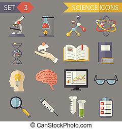 retro, plano, ciencia, iconos, y, símbolos, conjunto, vector