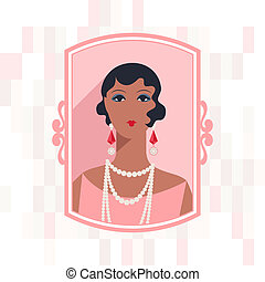 retro, plano de fondo, con, hermoso, niña, de, 1920s, style.