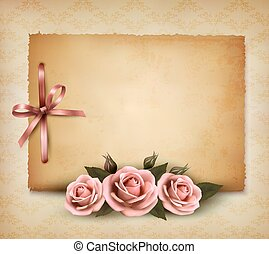 retro, plano de fondo, con, hermoso, rosa subió, y, viejo,...