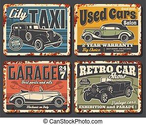 retro, plaques, vendange, voitures, rouillé, vecteur