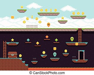 Retro platformer video game, vector gaming screen. Computer pixel game interface, illustration of platformer for vintage game