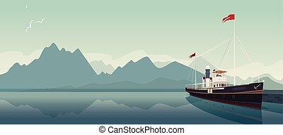Retro pleasure boat in style of old steamer