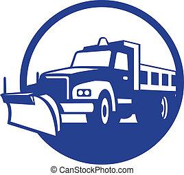 retro, ploeg, vrachtwagen, cirkel, sneeuw
