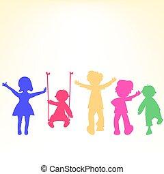 retro, poco, bambini, silhouette, sopra, baluginante, fondo