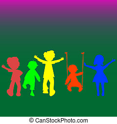 retro, poco, bambini, silhouette