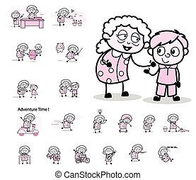 retro, pojęcia, wektor, babunia, ilustracje, litera, -, stary, różny