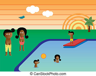 Retro Pool Family African American
