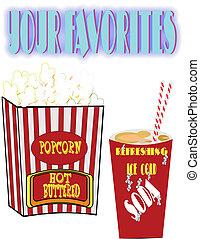 retro popcorn and soda