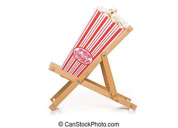 retro, popcorn, auf, deck, stuhl