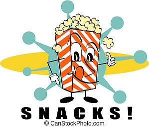 retro, popcorn, spuntini, segno, arte clip
