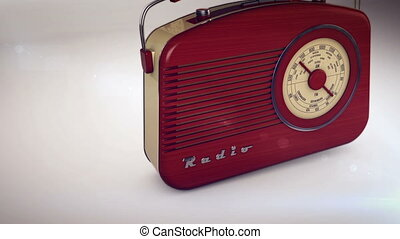 """3D rendering of Retro portable radio on white."""