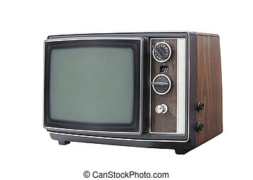 Retro Portable Television Set Isolated
