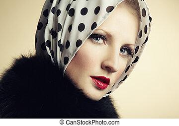 retro, porträt, von, a, schöne , junger, woman., mode, foto